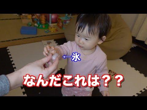 1歳児が初めての氷ですごい表情w