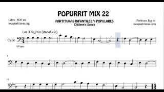 22 de 30 Popurrí Mix Partituras  de Chelo Las 3 Hojitas Yankee Doodle La Pastora Popular