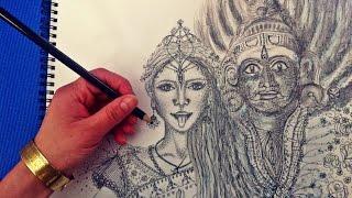 Speed Drawing: Hindu Goddess Kali and God Kala Bhairava/ Hindu Göttin Kali und Gott Kalabhairava