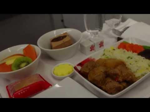Business class meals on Hong Kong Airlines HX283! 香港航空