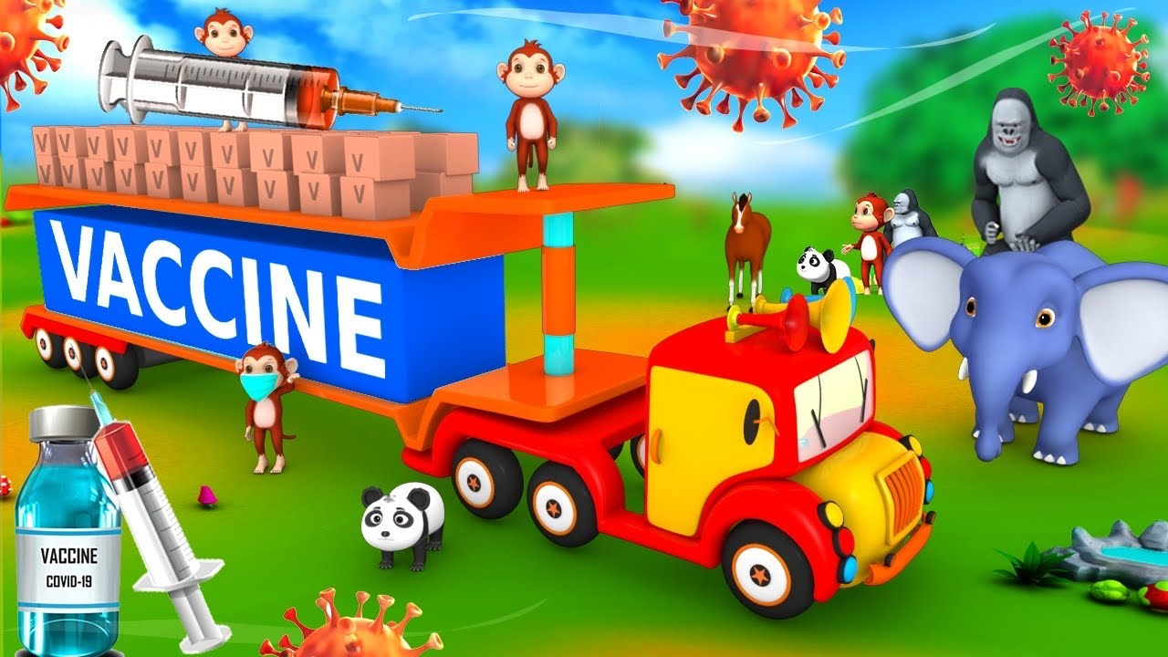 Funny Monkey Monster Truck Transporter COVID VACCINE for Forest Animals | 3D Animated Funny Videos