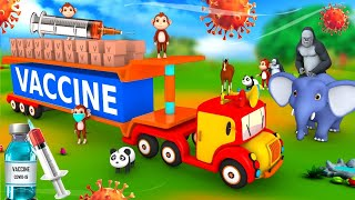 Funny Monkey Monster Truck Transporter COVID VACCINE for Forest Animals   3D Animated Funny Videos