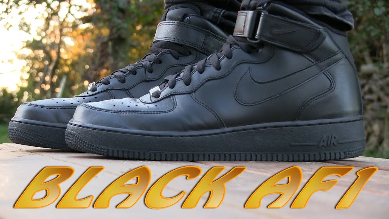 mens nike black air force 1 mid trainers hate