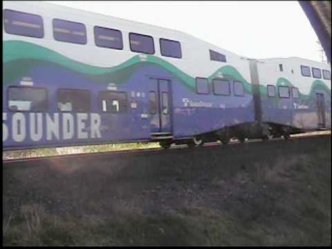 Sounder commuter train northbound to King St Station in Seattle