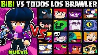 BIBI VS TODO LOS BRAWLERS |1 VS 1| NUEVO BRAWLER | ¿QUIEN LE GANA? | BRAWL STARS