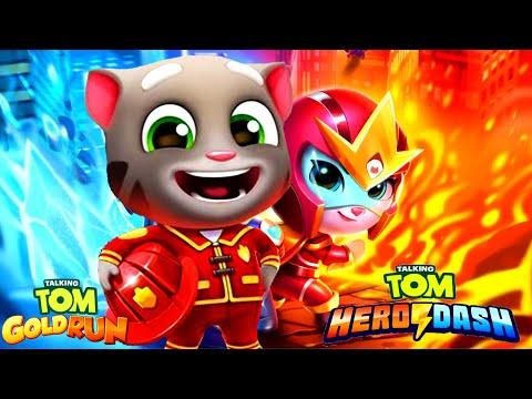 Talking Tom Gold Run VS Talking Tom Hero Dash Огненная Гонка! Пожарник Том VS Анжела Огненная Стрела