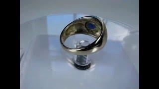 Cobalt Blue Star Sapphire Diamond Men Mens Pinky Ring 14K White Gold see VidEo