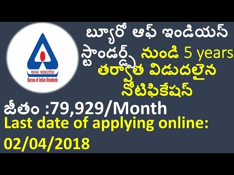 Latest govt jobs 2018 for AP/TS states | BUREAU OF INDIAN STANDARDS recruiting scientist-B posts
