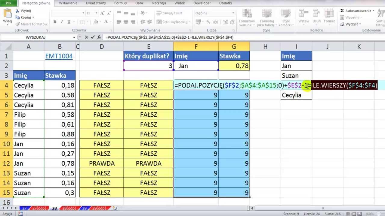 Excel Formatowanie Warunkowe Na Wierszu Z K Tym Duplikatem Dane