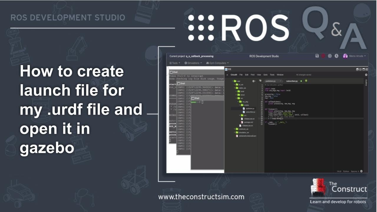ROS Q&A] 142 - How to create launch file for URDF and open in Gazebo