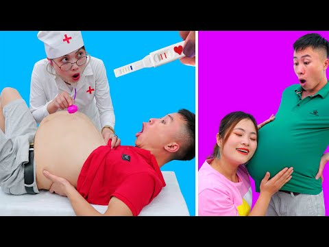 FUNNY PREGNANCY SITUATIONS ||  24 Hours Being Pregnant Challenge By Monkey Craft