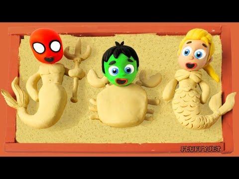 Superhero Baby Spiderman Playtime Sand Box Play Doh Stop Motion video kids nursery rhyme fun