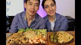 Мукбанг--- Азиатский боул с КРЕВЕТКАМИ/курицей и грибами/омлетом/огурцом/ ТУРША/соленья/ не асмр!