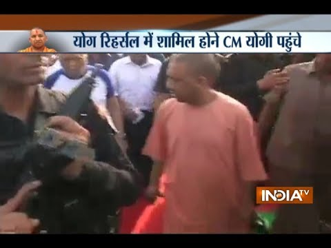 CM Yogi Adityanath arrives in Lucknow to attend full dress rehearsal for Yoga Day celebrations