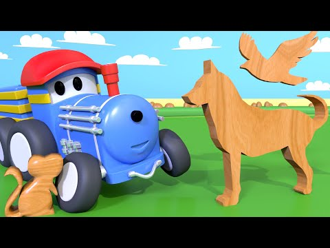 Learn animals - Ted picks up the animals in the farm - Learning Videos for Children with Trains