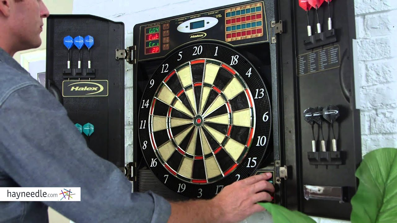 Halex Madison BristleTech Electronic Dart Board With Contemporary Cabinet    Product Review Video