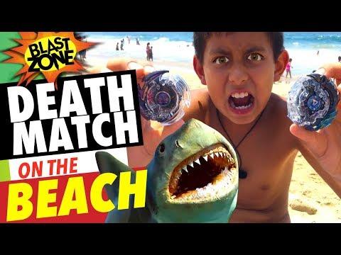 Beyblade Burst Deathmatch On The Beach! Dark Vs. Killer Deathscyther Takara Tomy Beyblade Battle!