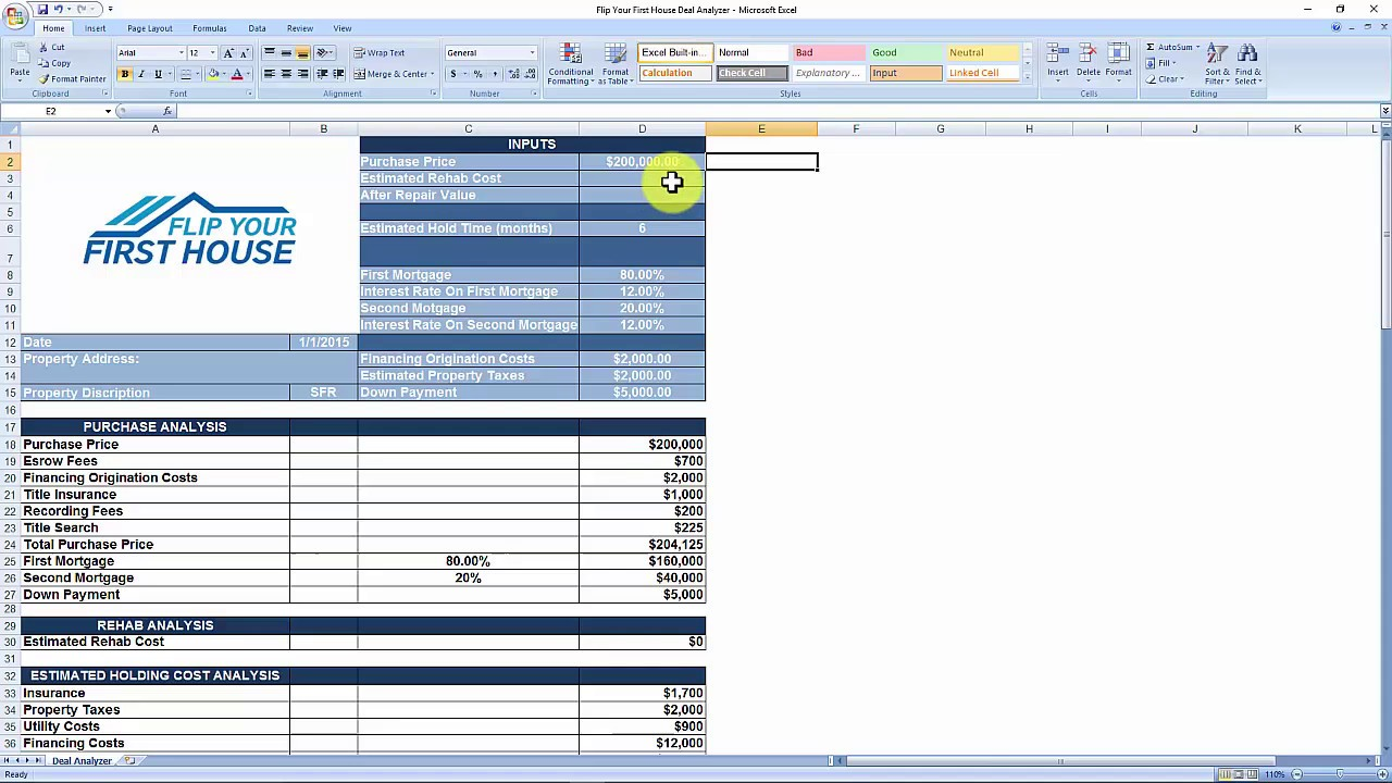 House Flipping Spreadsheet - Free Download - YouTube