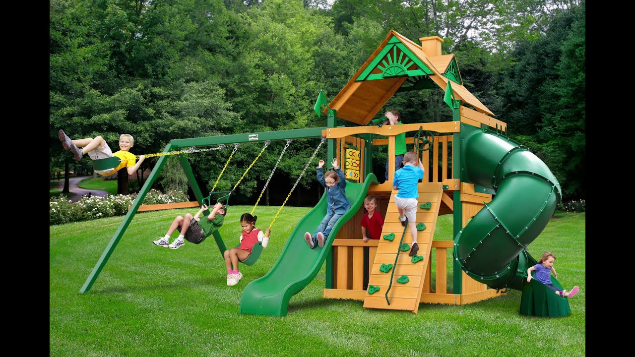 Mountaineer Clubhouse Swing Set w Timber Shield Wood Roof