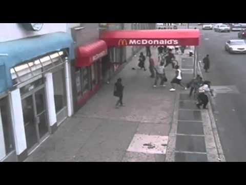 MCDONALD'S SHOOTING: Shocking scenes as man is gunned down in Brooklyn