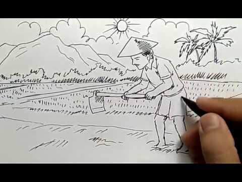 Cara Menggambar Pemandangan Petani Sawah Untuk Anak Sd Youtube