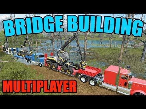 FARMING SIMULATOR 2017 | BRIDGE CONSTRUCTION | MULTIPLAYER | WOODCHIPS