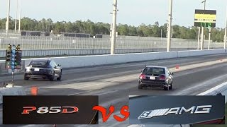 tesla model s p85d vs mercedes benz e63s amg drag racing 1 4 mile