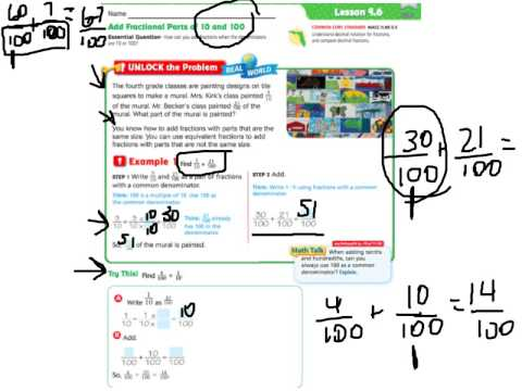 Go Math 9.6 Add Fractional Parts Of 10 And 100