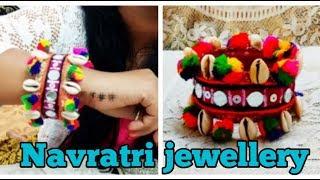 Navratri jewellery, pompom Jewellery , Bangels Making idea,Thread Bangles, Diy bangles , gota Bangel