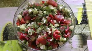 Салат из свежих овощей и благодарность своим подписчикам.