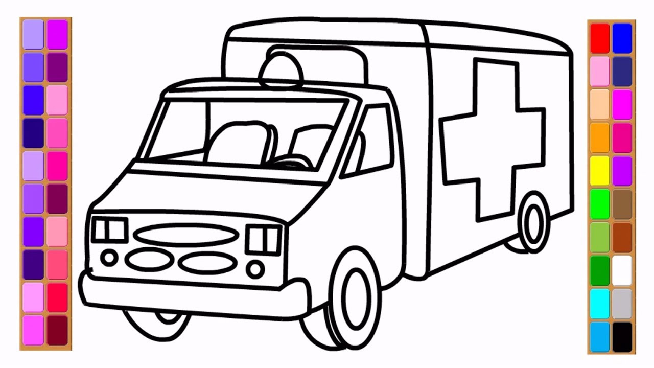 How To Draw Car Coloring Book Ambulance Coloring Pages Drawing For Kids With Colored Pages Youtube