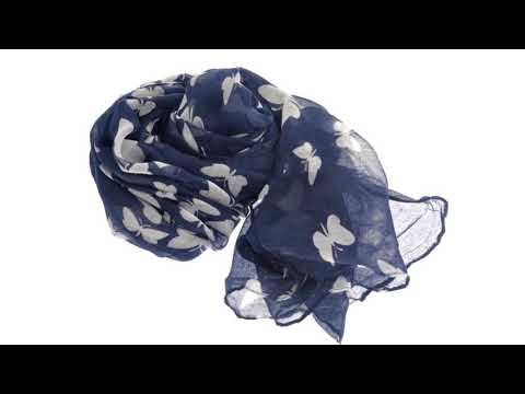 180*100cm Fashion All-match Women's Girls Butterfly Printed Long Soft Voile Scarf Muffler Shawl Wrap