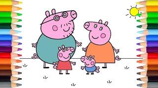 快乐学习颜色 - 粉红猪小妹全家画涂色 Peppa Pig and family coloring page - Learn colors for kids