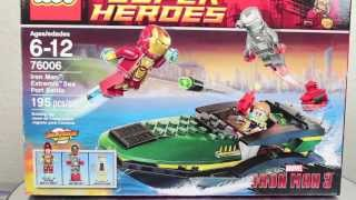 Iron Man 3 LEGO Marvel Super Heroes Iron Man Extremis Sea Port Battle Set Movie Toy Review