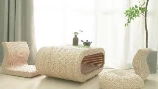 좌식 의자 라탄 방석 차 테이블