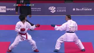KARATE1 Premier League Paris 2018 kumite female -50kg final Miho Miyahara vs Alexandra Recchia