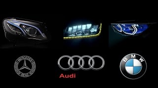 MERCEDES-BENZ MultiBeam LED vs AUDI Matrix LED vs BMW Intelligent Headlight Technology