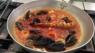 The real italian spaghetti with seafood