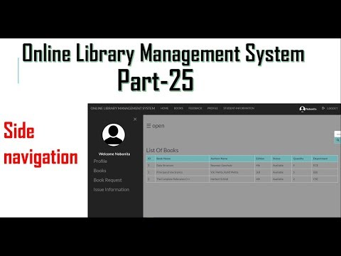 Library Management System Part-25   Side Navigation With HTML,CSS, Javascript