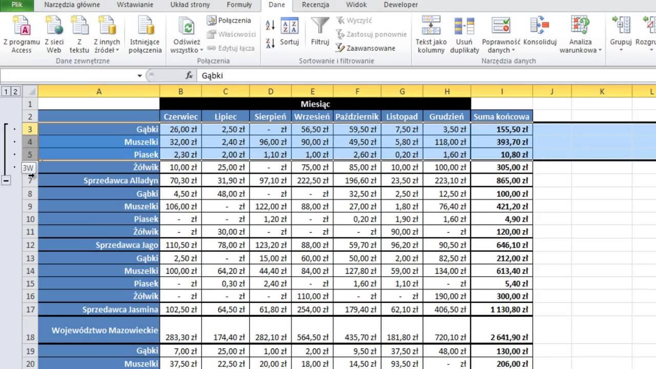Excel Grupowanie Wierszy I Kolumn Autokonspektem Porada 123