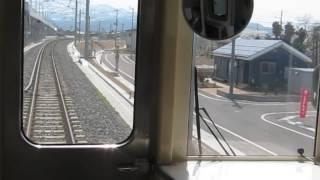 北越急行の新井行きが上越妙高駅を発車(車内より)