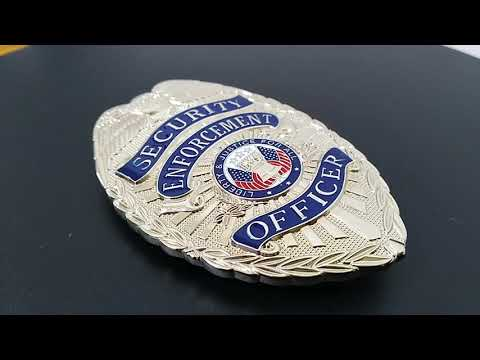 Inforcement Officer Security Badges with US butterfly butch Brass stamping