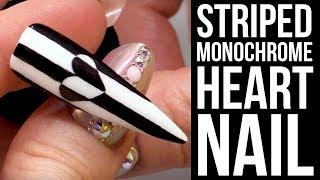 Striped Monochrome Heart Nail using a Dotting Tool