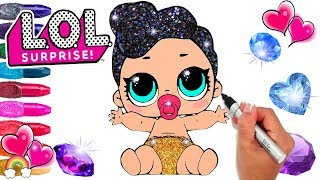 Glitter Series 3 LOL Surprise Doll Baby Lil Queen Coloring Glitter Art Gems | Printable