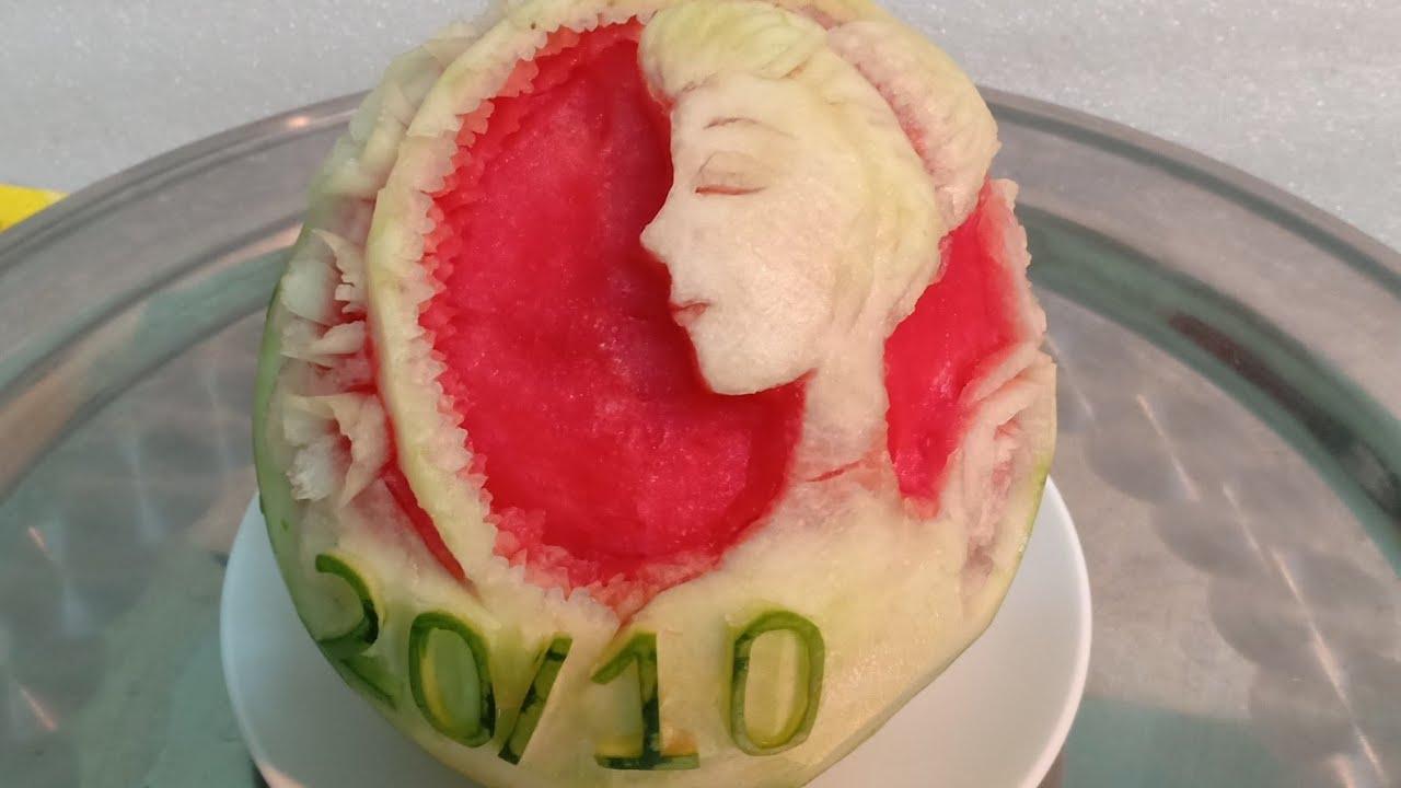 20/10 .Tỉa dưa hấu phụ nữ Việt Nam .watermelon carving.công tuấn #carving  #watermelon