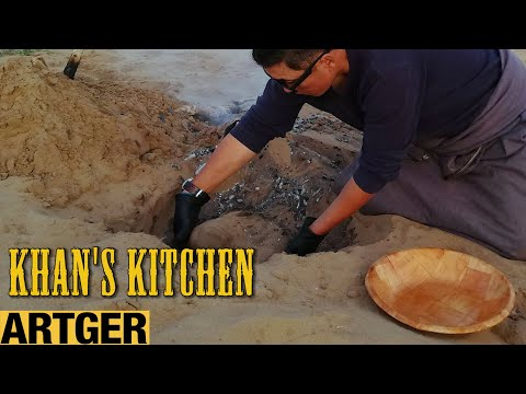 Rare Mongolian Food! Cooking Lamb Under The Sand | Khan's Kitchen