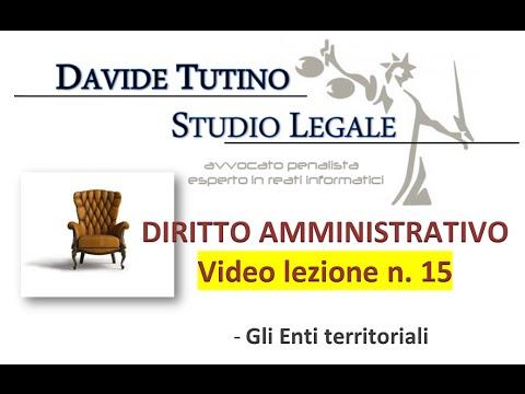 Diritto Amministrativo Video lezione n.15 : Gli Enti territoriali
