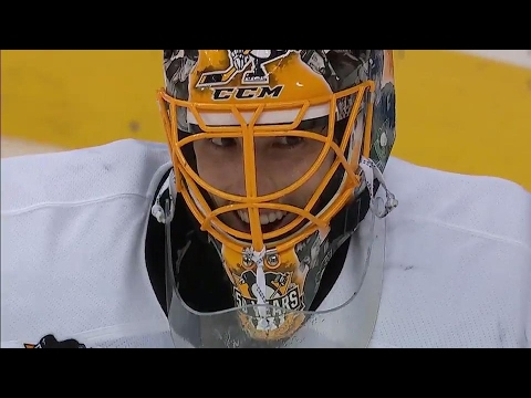 Fleury all smiles after making a big save on Ovechkin