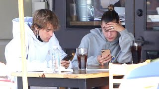 Justin Bieber And Hailey Baldwin Completely Ignore Each Other During Afternoon Lunch Date