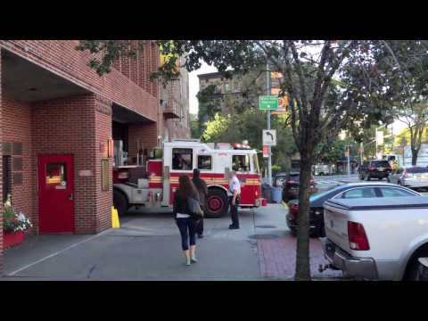 FDNY alert Engine 24, Ladder 5, leaving firehouse Greenwich Village